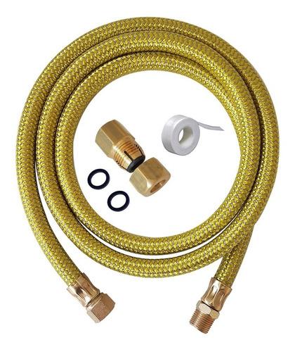 Imagem 1 de 6 de Kit Instalação Gás Encanado Mangueira 80cm + Adaptador