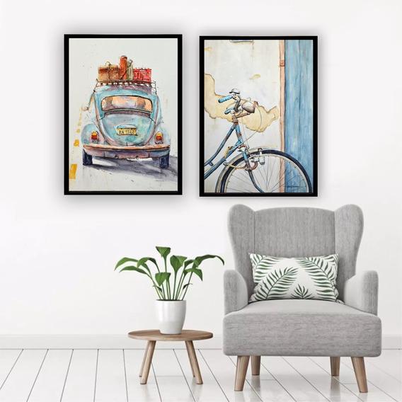 Kit Quadros C/ Vidro Velha Infância Fusca Bike Decoração