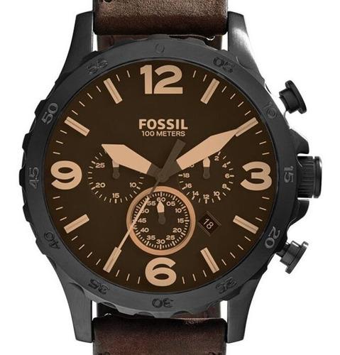 Relogio Fossil Masculino Couro Mostrador Marrom Jr1487/0mn