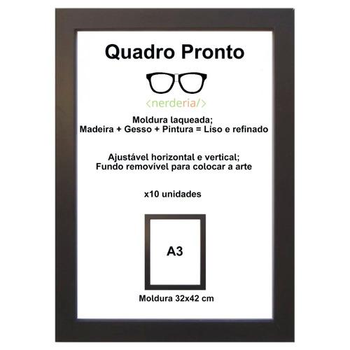 Moldura A3 Certificado/diploma Tela Acrílico Com 8 Unidades