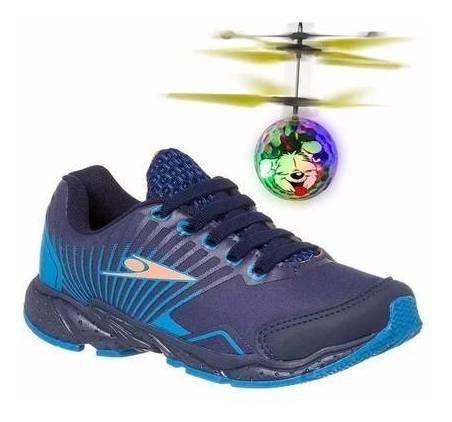 Tênis Infantil Masculino Led Drone Azul Klin Original