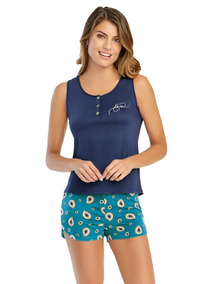 Pijama Corta 2pzas Ilusion Dama 3719 Short + Blusa Oi-19