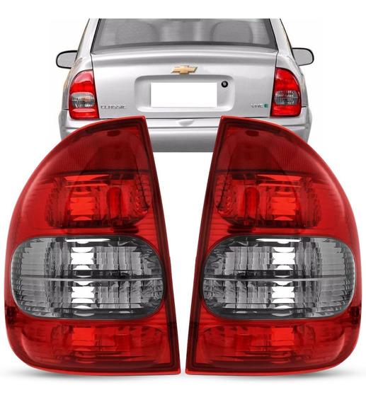Par Lanterna Traseira Corsa Sedan Classic 2000 A 2010 Fumê