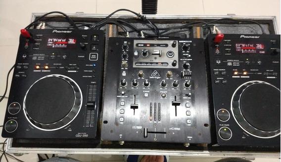 Par Cdj 350 Pioneer + Mixer Behringer Nox 302 + Case