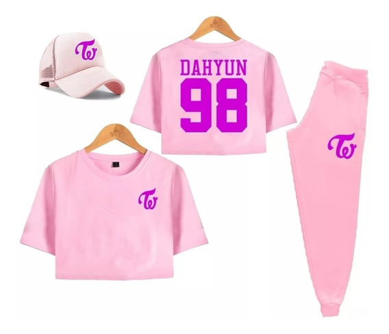 Kit Twice Camisa Cropped Calça Boné Dahyun 98 Kpop Kawaii