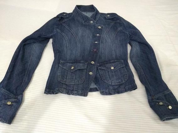 Casaco Blazer Jeans Feminino Vakko Tam M Bolsos Frente Punho