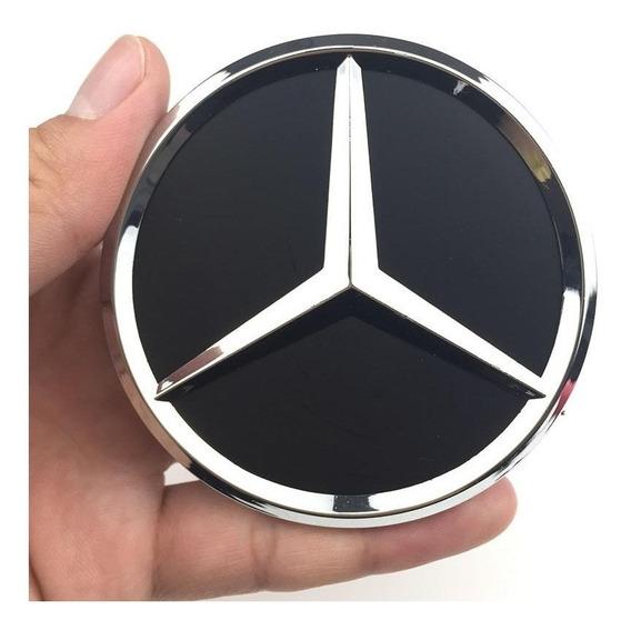 Calota Roda Mercedes Benz 75mm Mod Preta Pronta Entrega
