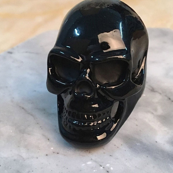 Anel Cranio Negro Black Skull Em Aço + Brinde Balaclava