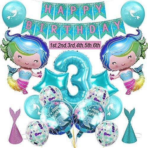 Imagen 1 de 7 de La Fiesta De Cumpleaños De La 3ra Sirena Suministra Globos