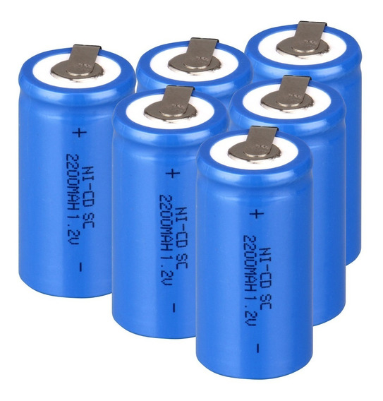 6 Bateria Recarregável Nicd Sub C Sc 1.2v 2200mah Azul