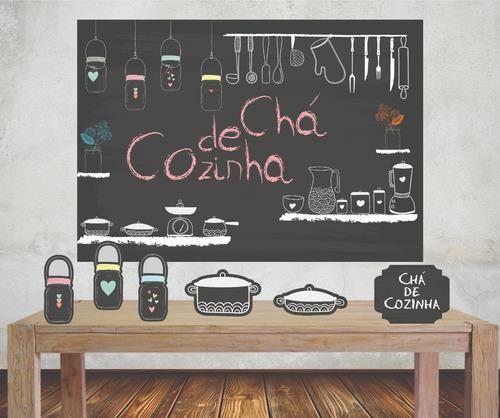 Imagem 1 de 5 de Kit Completo Painel Banner + Displays Chá De Cozinha