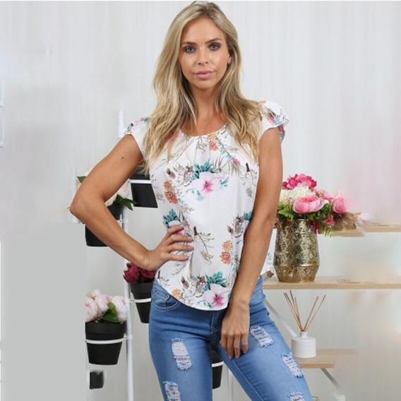 Blusa Feminina Estampada Verão Bata Blusinha Camiseta Luxo