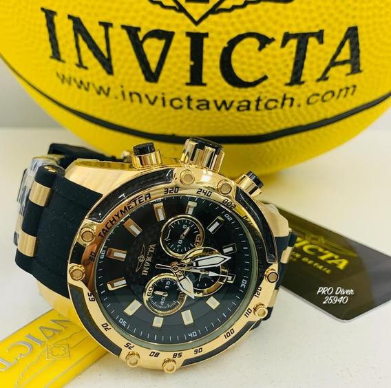 Relógio Invicta 25940 Dourado Ouro 18k Borracha - Pro Diver