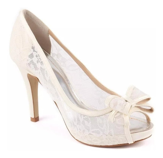 Peep Toe De Renda Transparente Com Laço Off White