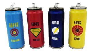Botella Térmica Lata Super Héroes 500 Ml Bombilla Rebatible