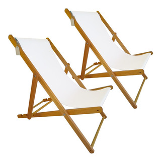 Set 2 Reposeras Madera Lona Plegable Para Pileta Playa Patio