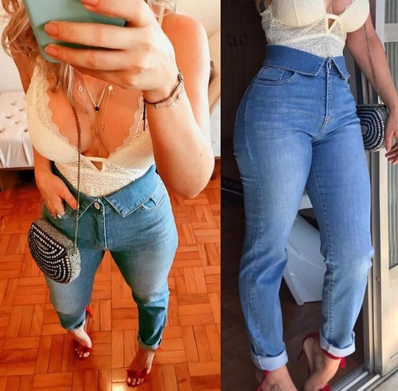 Calça Feminina Jeans Exclusiva Detalhe Na Cintura Estilo
