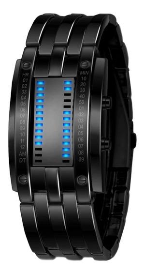 Relógio Masculino Led Digital Preto Com Calendário Futurista
