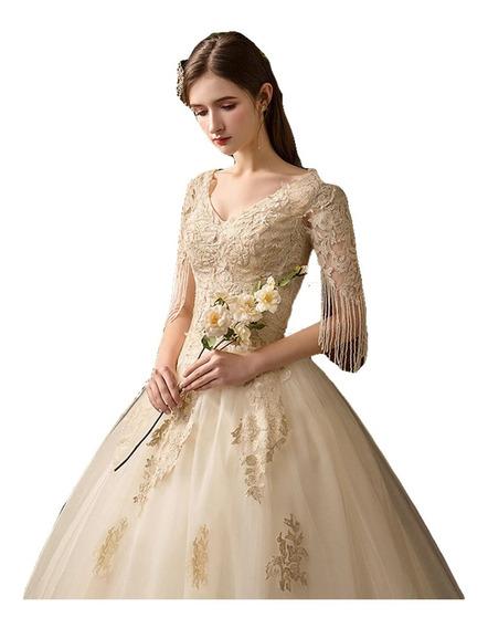Vestidos De Novia Boda Elegante Bordado Color Beige