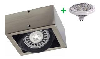 Aplique Plafon Box 1 Luz Foco Ar111 Led Platil Cardanico 12w