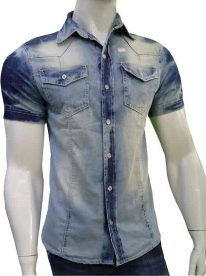 Camisa Jeans Masculina Manga Curta Manchada Moda Verão