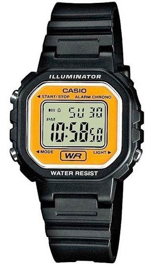 Relógio Feminino Casio Retrô Digital Preto Amarelo Pequeno