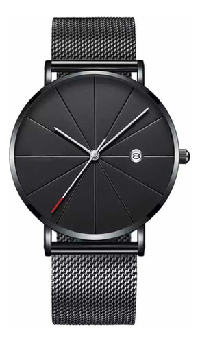 Reloj Negro Metálico, Minimalista Clásico.