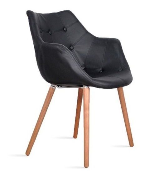 Cadeira Poltrona Estofada Eleven Retro Vintage Preto