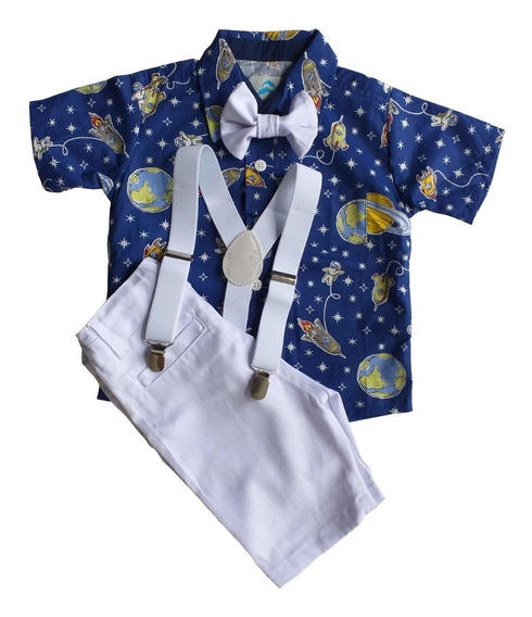 Roupa Festa Infantil Conjunto Camisa Social Menino Bermuda Social Suspensório Gravata Roupa Infantil Temática Menino