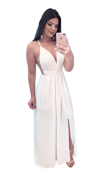 Vestido Longo Solto Decotado Fenda Com Alças Moda Verão