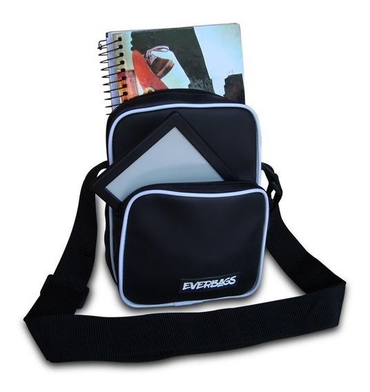 Shoulder Bag Black White Emborrachada Everbags Necessaire