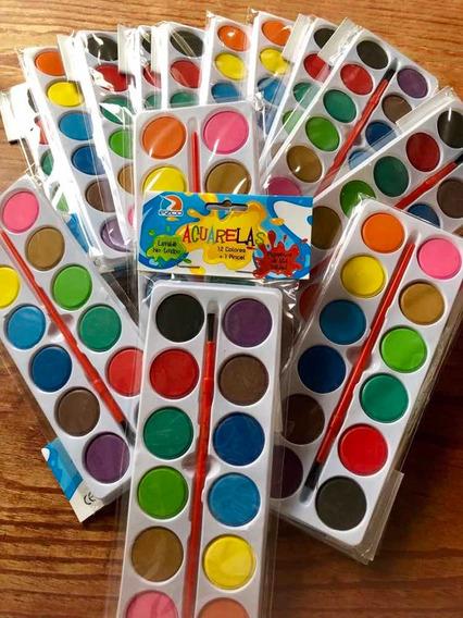 Acuarelas 12 Colores Y Pincel Por 40u