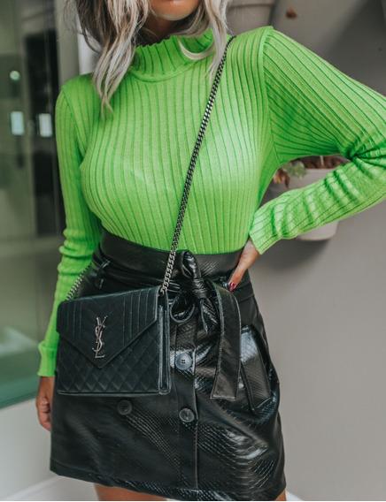 Cacharrel Canelada Vera Tricot Feminina Verde Neon