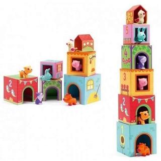 Torre Cubos Apilable Animales De La Granja Dj09108 Djeco