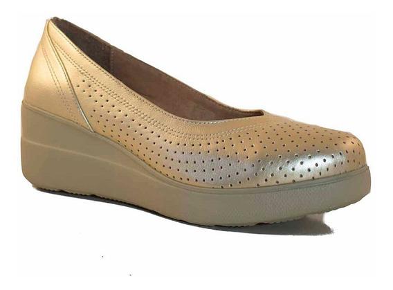 Zapato Cuero Mujer Briganti Plataforma Clasico - Mccz33054
