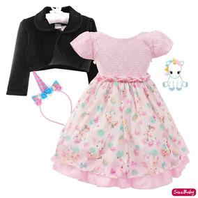 Vestido Infantil Unicórnio Mundo Encantado Baby Bolero Tiara