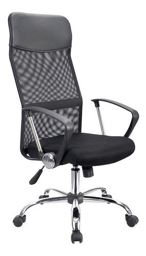 Imagen 1 de 3 de Silla de escritorio Econosillas Economalla ergonómica  negra con tapizado de mesh y tela microespacial