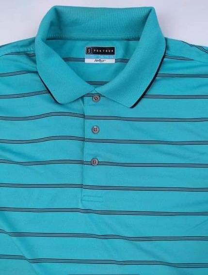 Playera Tipo Polo Color Azul Celeste Pga Tour 2xl