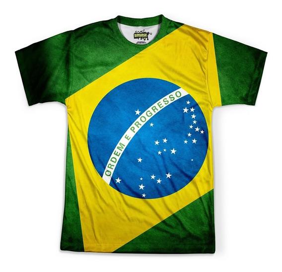 Camiseta Masculina Brasil Bandeira Copa Md03