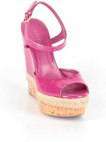Zapatos Gucci Tacón Corrido Rosa Magenta Morado Charol Piel