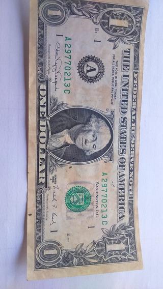 Nota, Cedula De 1 Dolar Usa, Antiga E Rara 1988 Serie A.