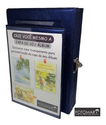 Álbum Para 80 Fotos -déco Azul- Com Maleta Ref.alb053
