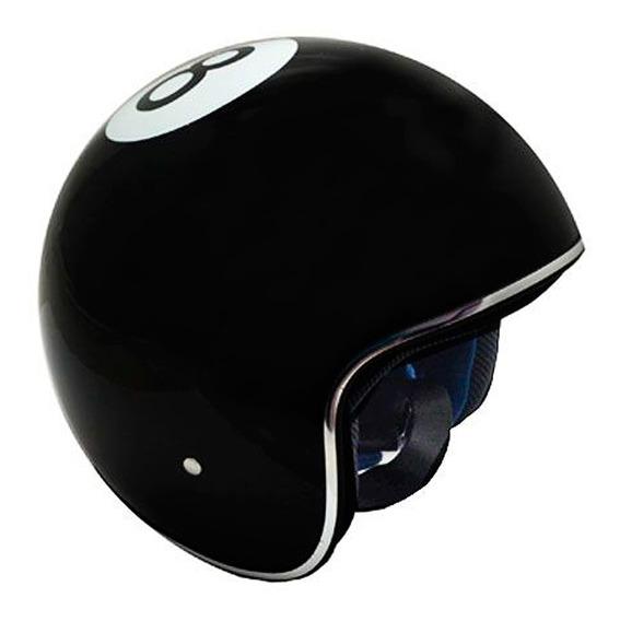 Casco Motocicleta 3/4 Grande Negro Fs-701a-bola 8 Kinlley