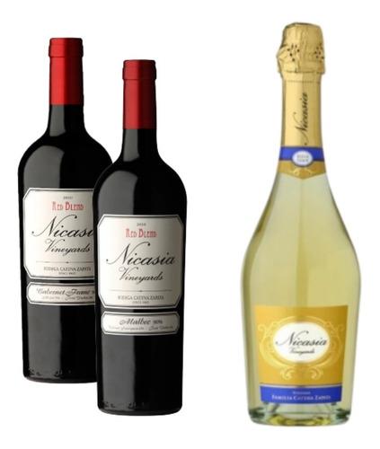 Nicasia Malb 1 + 1 Nicasia Cab. Franc + 1 Champagne Nicasia