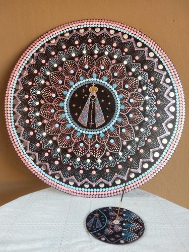 Imagem 1 de 5 de Quadro Mandala E Incensário Pontilhismo Nossa Senhora Aparec