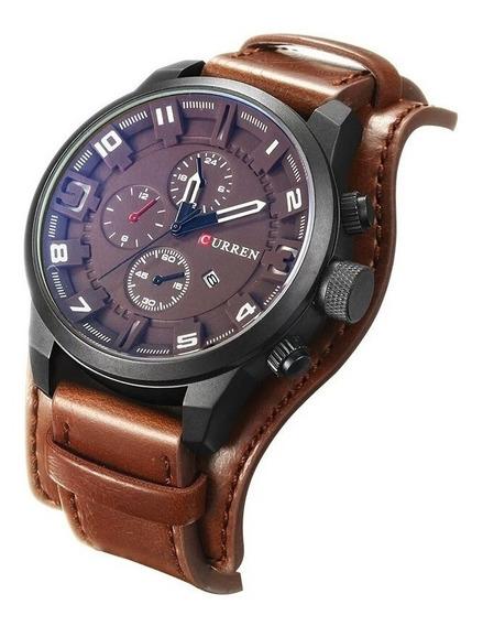 2 Relógios Sportivo Curren 8225 Marrom Couro Top Luxo Caixa