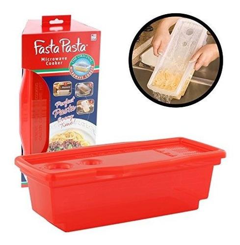 Fasta Pasta Microondas Cocedor De Pasta - El Original (rojo)