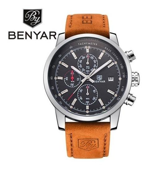 Relógio Benyar 5102 Original Luxo Couro Esportivo Quartzo