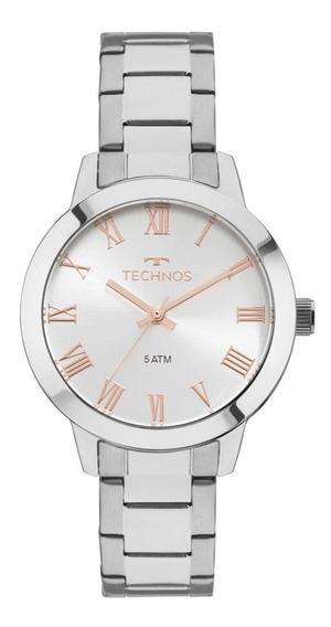 Relógio Technos Feminino Aço Prata Visor Prata Rosê 2035mkv