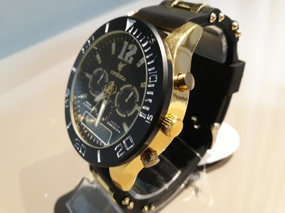 Relógio Potenzia Novo Cx Dourada E Preta